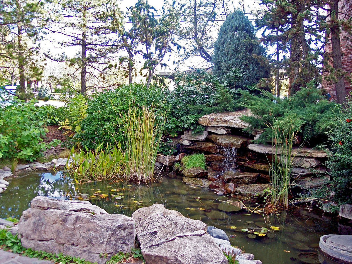 Stacked stone water feature - Wells Fargo Bank Canon City Co Design And Installation Allen Keesen Landscape
