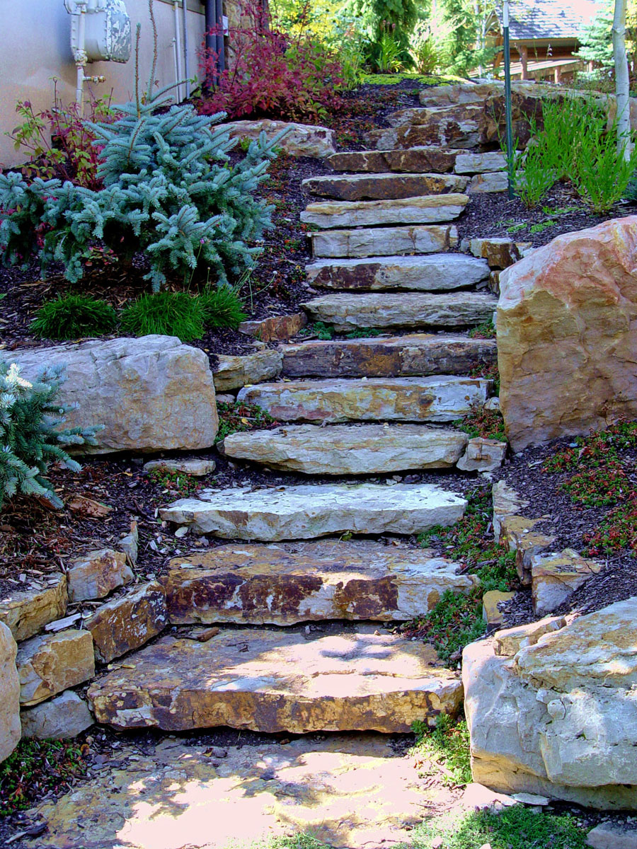 Exceptional Description: Natural Stair Treads And Cinnamon Shadow Quarry Boulders.