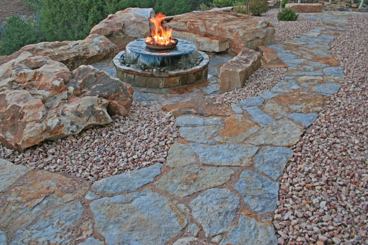 Description: Siloam Walkway Stone And Patio Stone, Cinnamon Shadow Boulders  And Bench Blocks.
