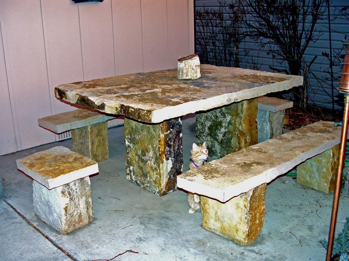 Beau A Rock Solid Picnic Table Setting. Even The Cat Is Impressed!